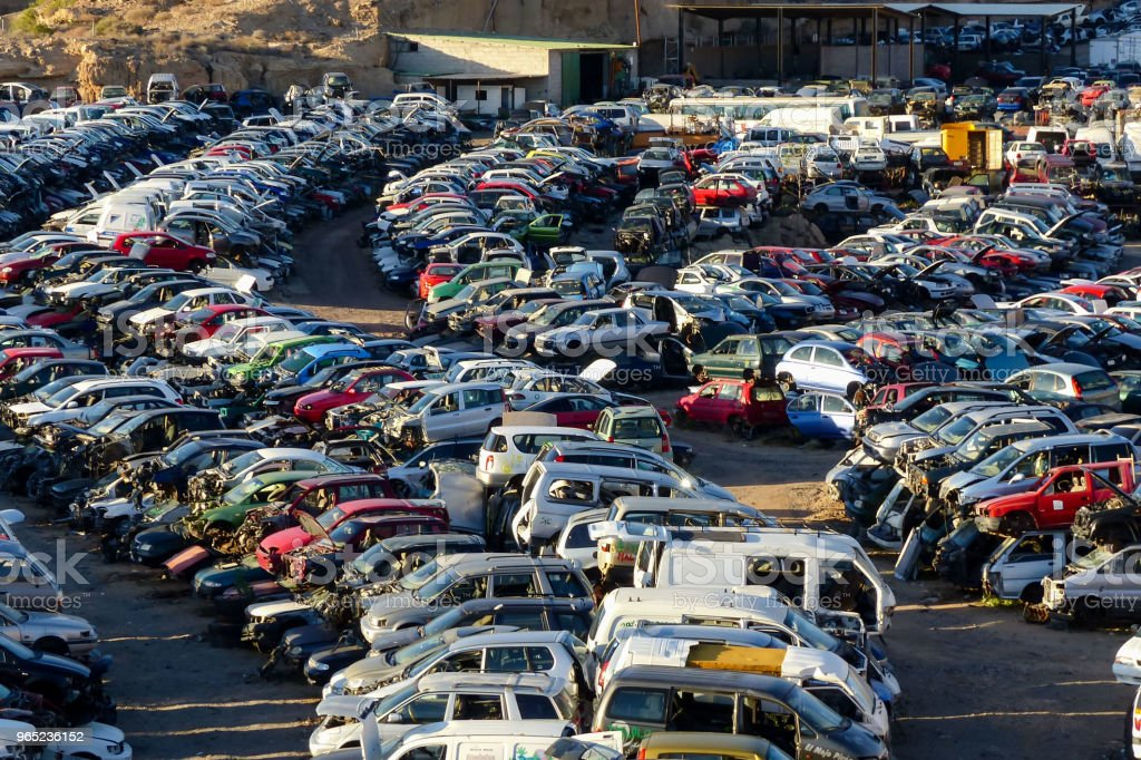 Scrap Yard With Pile Of Crushed Cars in tenerife canary islands spain royalty-free stock photo