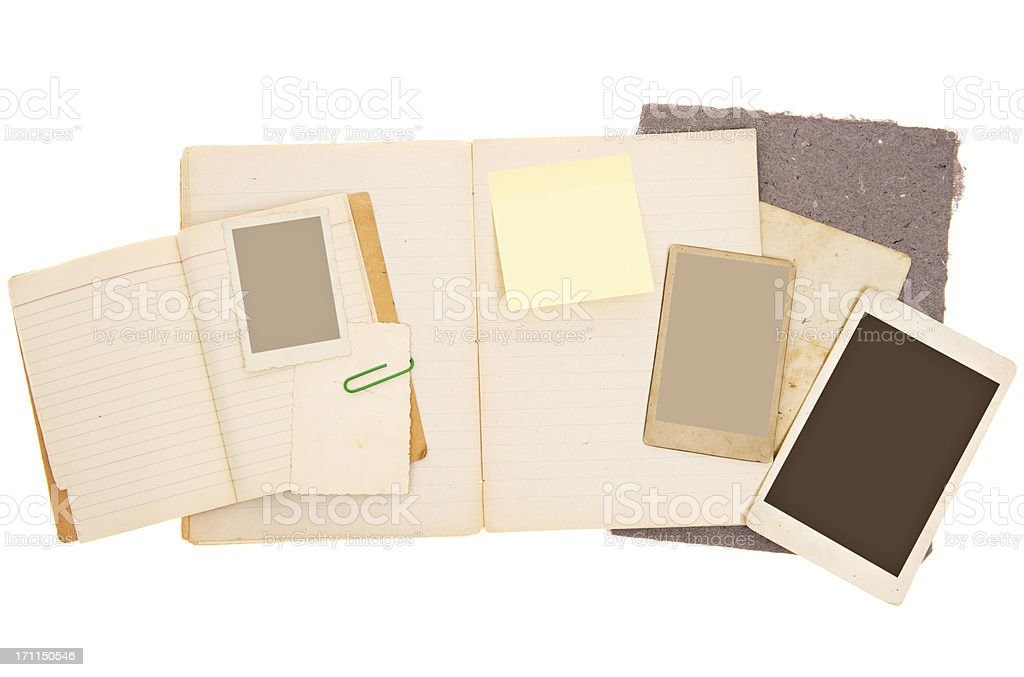 Scrapbook Background with Vintage Photos stock photo