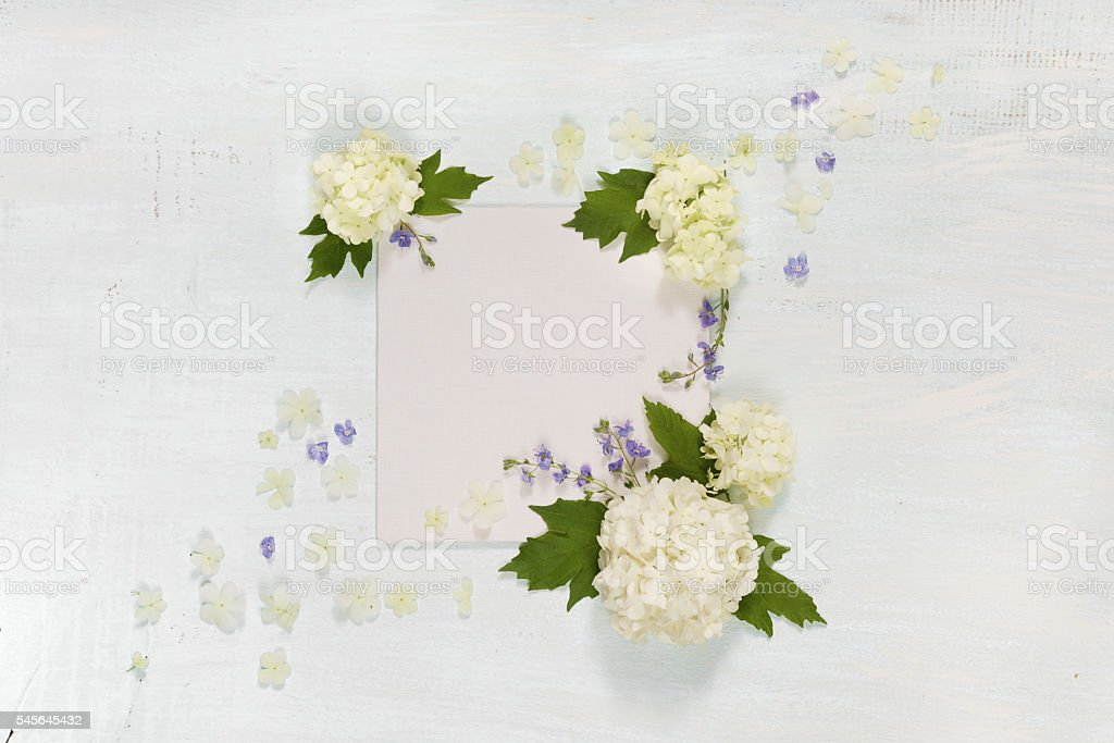 Scrapbook page with white and blue flowers stock photo