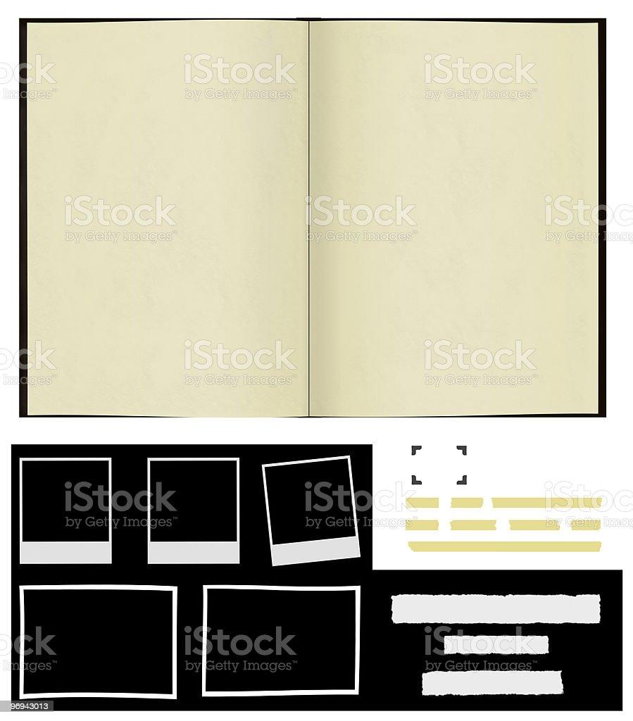 Scrapbook with frames and tags royalty-free stock photo
