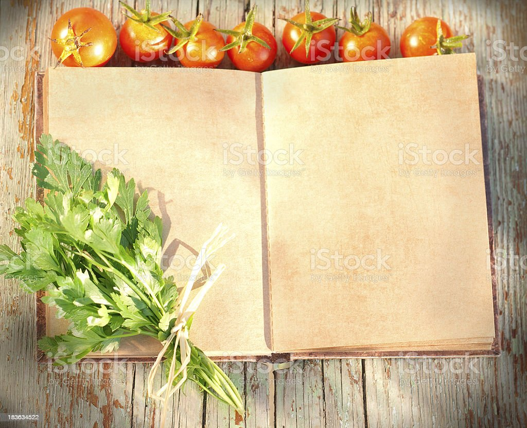 scrapbook with vegetables stock photo