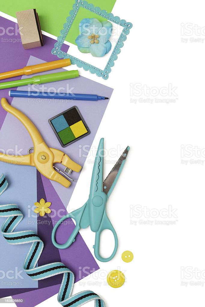 Scrapbooking items border, with copyspace stock photo