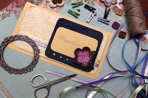 scrapbooking - do it yourself invitations stock-fotos und bilder