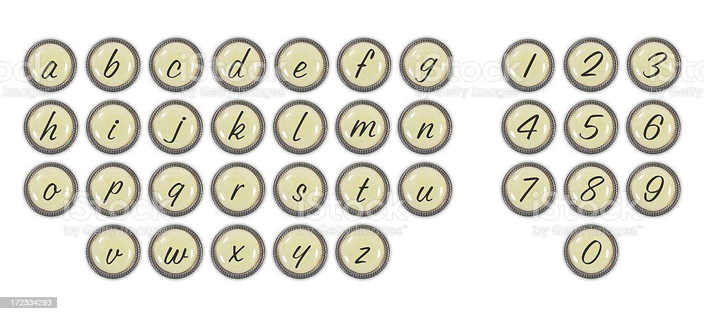 Scrapbooking Series: Embellishments: Lowercase ABC/123 royalty-free stock photo