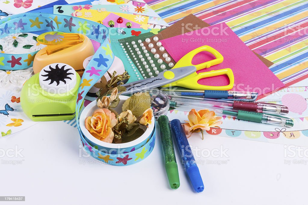 Scrapbooking set on white background. stock photo