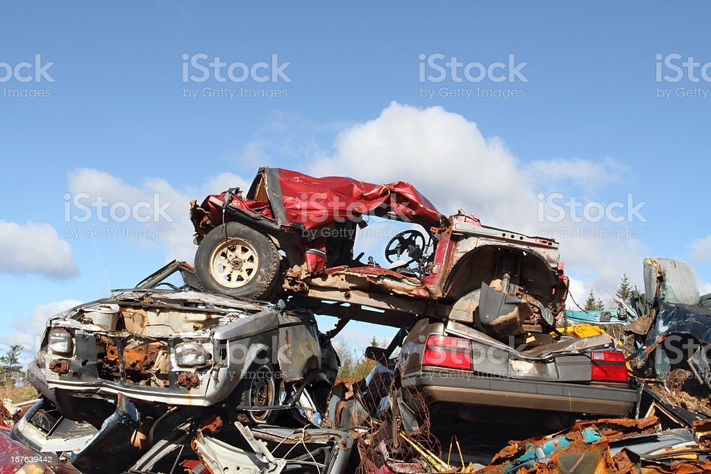 Scraped vehicles at a recycing site stock photo