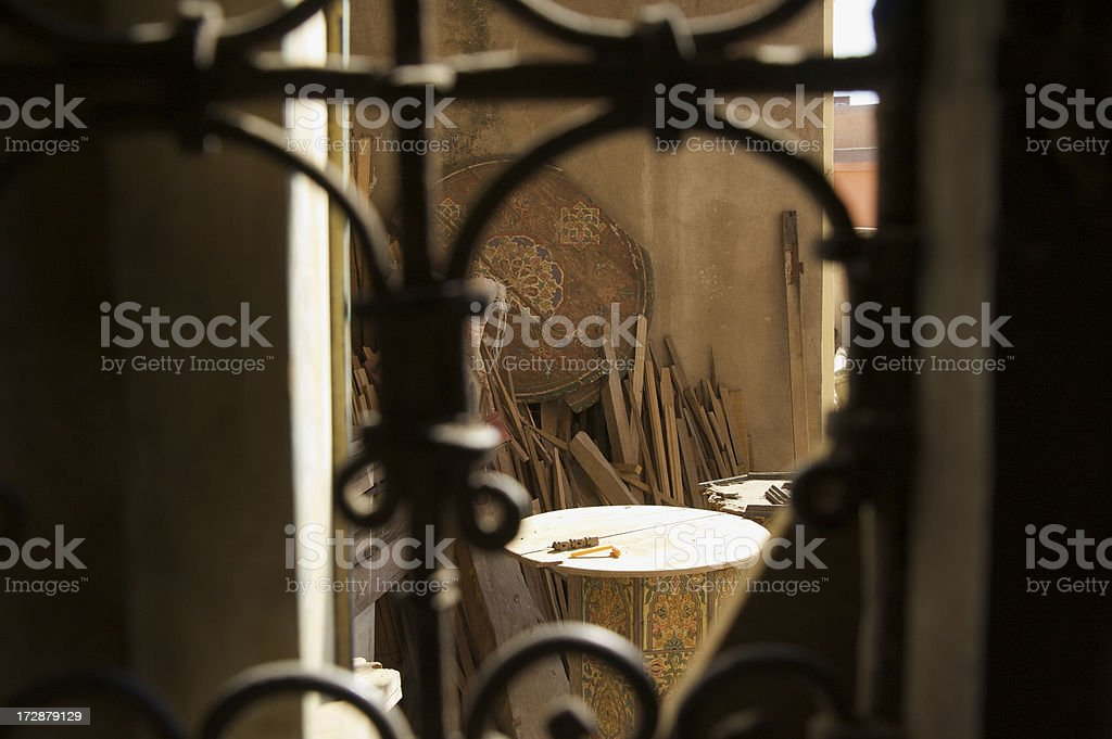 Scraps Gathered Outside The Window of a Moroccan Madrasah royalty-free stock photo