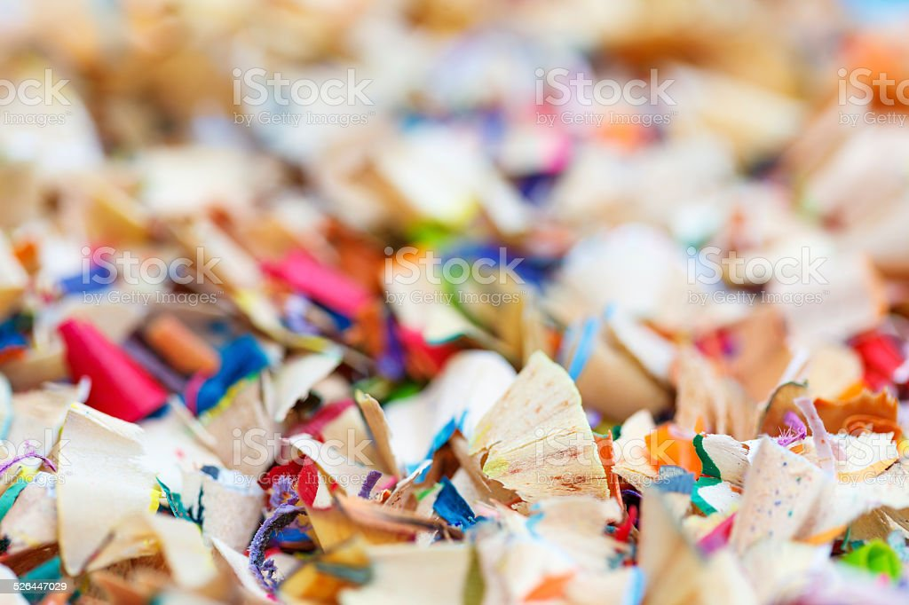 Scraps of colored pencils royalty-free stock photo