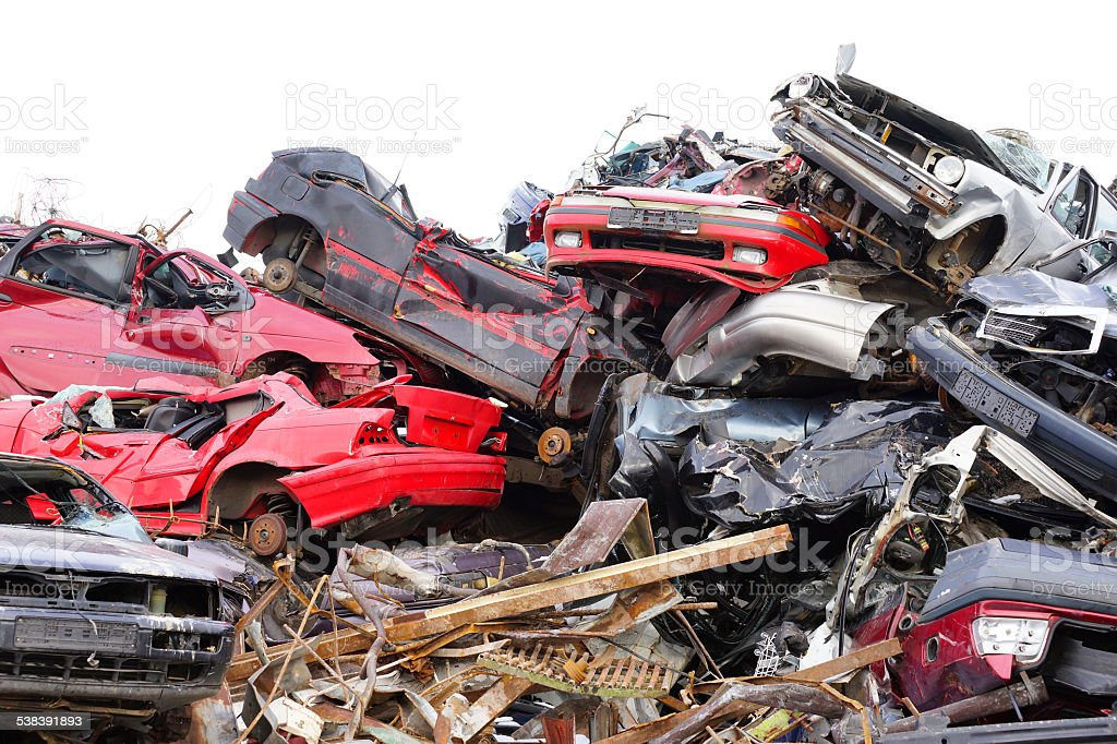 Scrapyard junkyard with cars stock photo