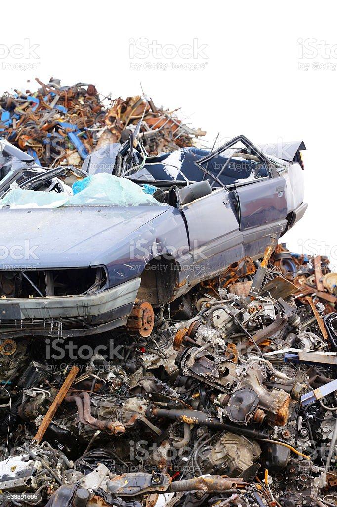 Scrapyard with cars edgewise stock photo