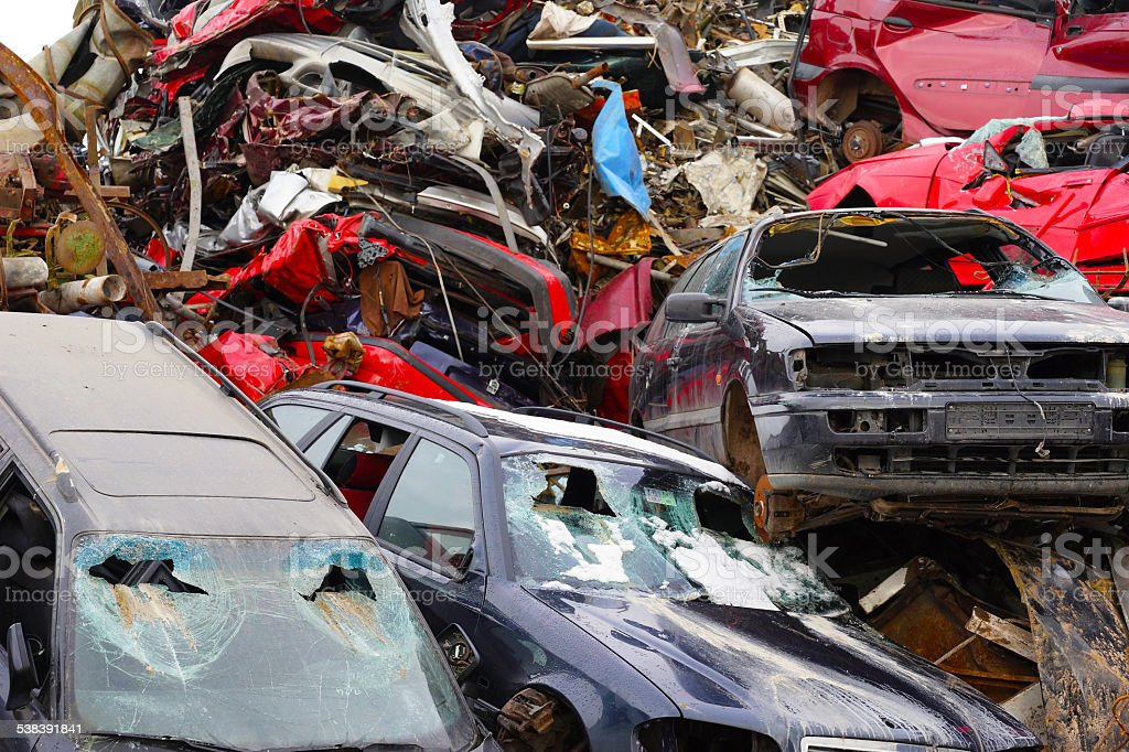 scrapyard with vehicle involved in an accident stock photo