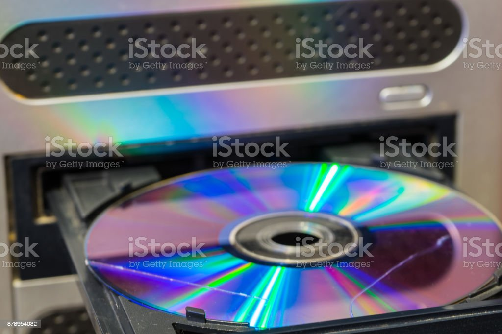 Scratch on the disk. The scratch disk in the optical drive of the computer. stock photo