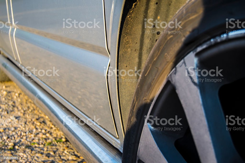 Scratched Alloy Wheel stock photo