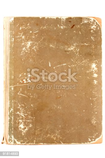 istock Scratched Antique book isolated on white. 91814893