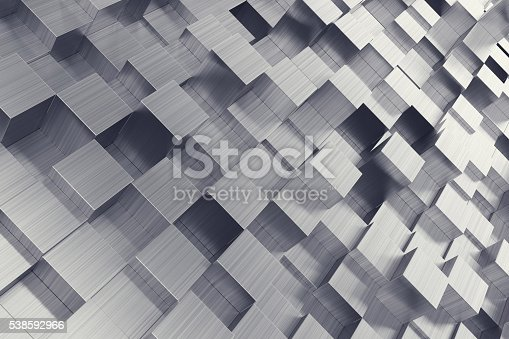 453066423 istock photo Scratched cubes abstract background with focus effect. 3d illustration 538592966