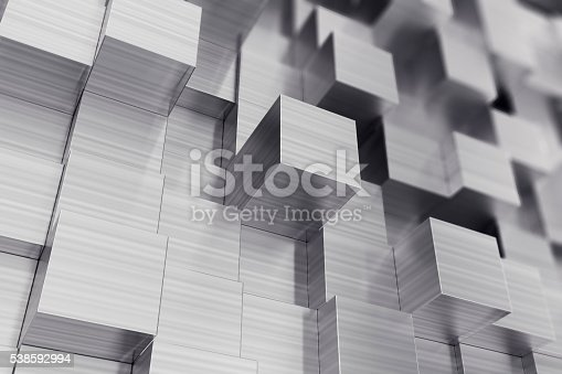 453066423 istock photo Scratched cubes abstract background with focus effect. 3d illustration 538592994