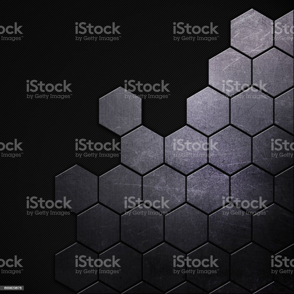 Scratched grunge metal background with hexagonal shapes vector art illustration