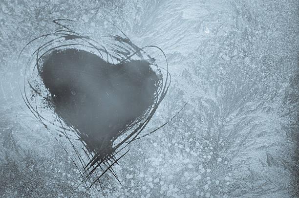 scratched heart on frosty window