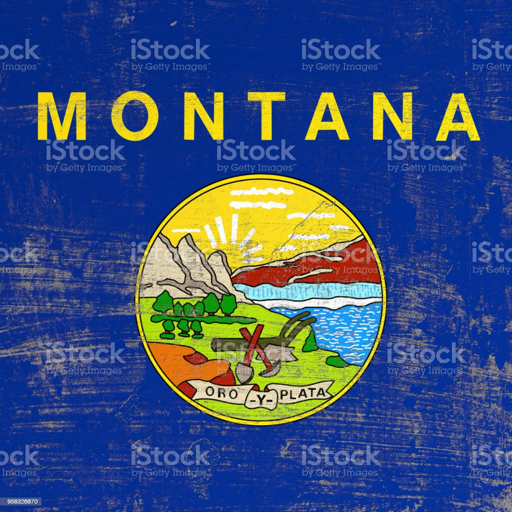 scratched Montana flag stock photo