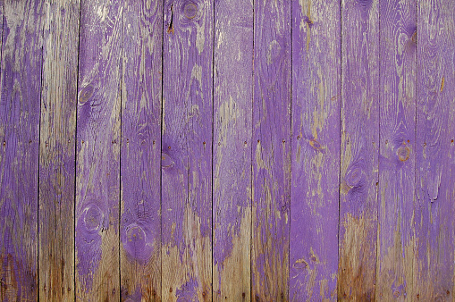 Scratched purple wooden planks