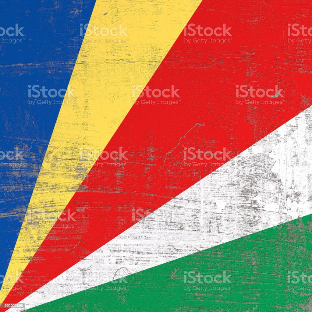 Scratched Seychelles flag stock photo