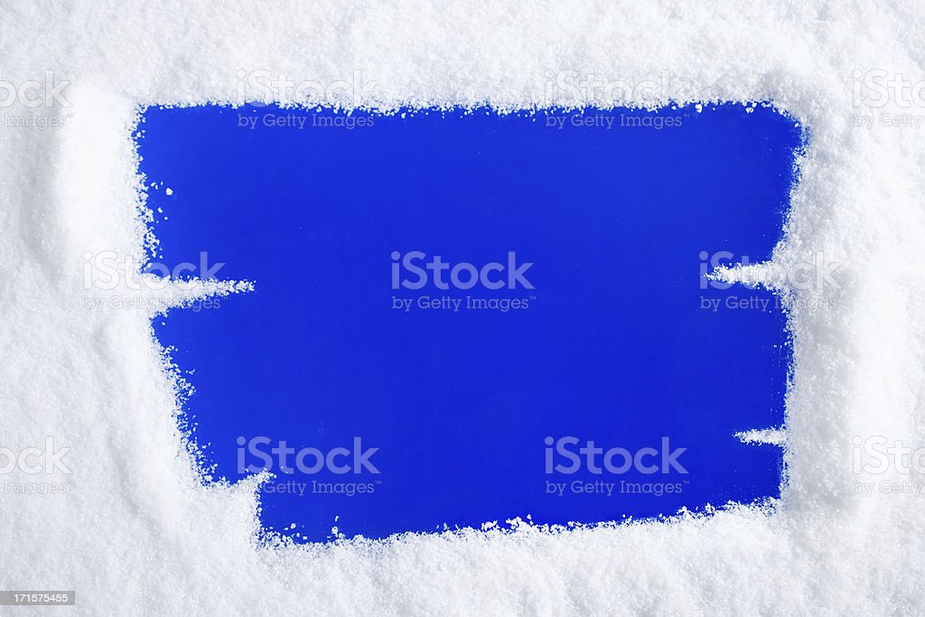 Scratched Snow on Window royalty-free stock photo