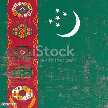 istock scratched Turkmenistan flag 955651222
