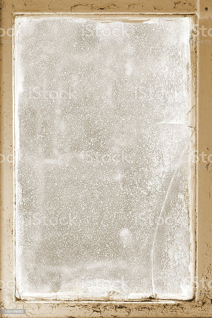 scratched,cracked, glass window in frame royalty-free stock photo