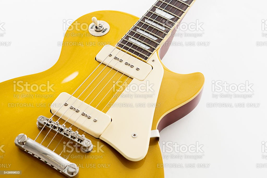 Scratchplate and strings on '56 Les Paul Pro electric guitar stock photo