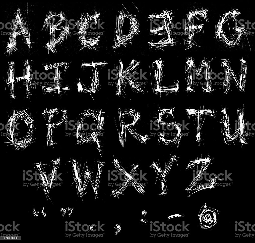 Scratchy Alphabet stock photo