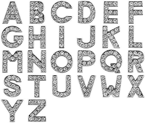 scratchy glamour alphabet - stone font stock photos and pictures