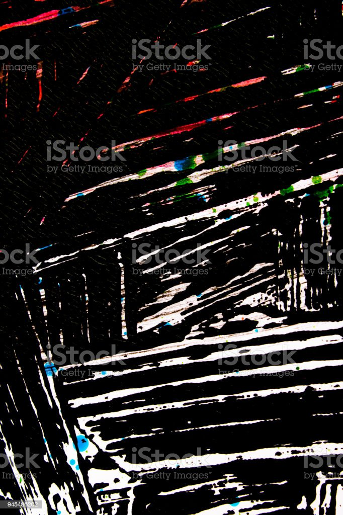 Scratchy Line Black Paint with Multicolor Paint Background Abstract stock photo
