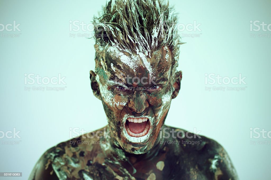 portrait of man, emotions, face in paints, a man is painted,body...