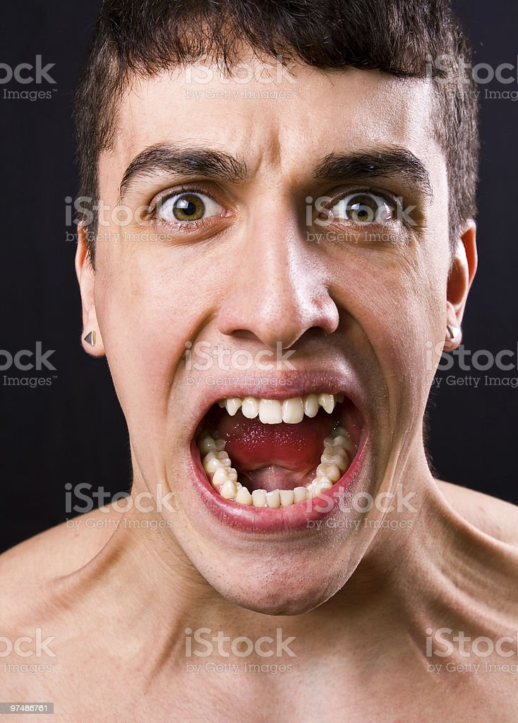 Scream of shocked and scared man royalty-free stock photo