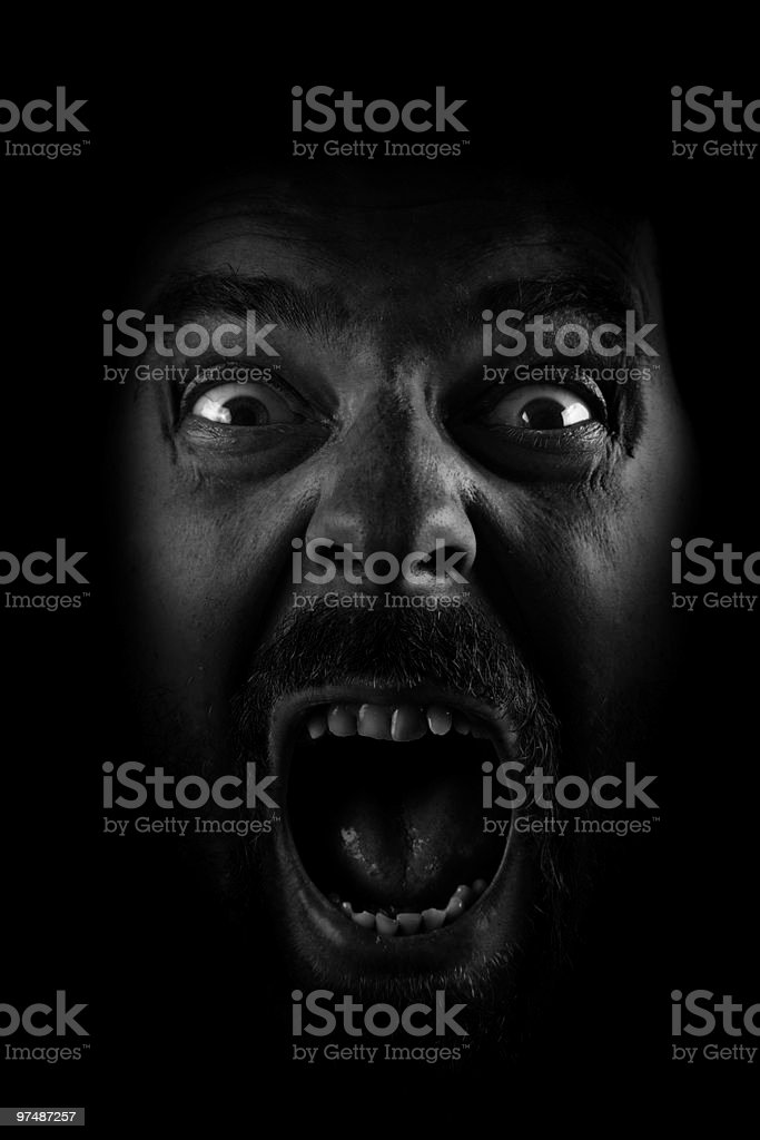 Scream of spooky scared crazy man royalty-free stock photo
