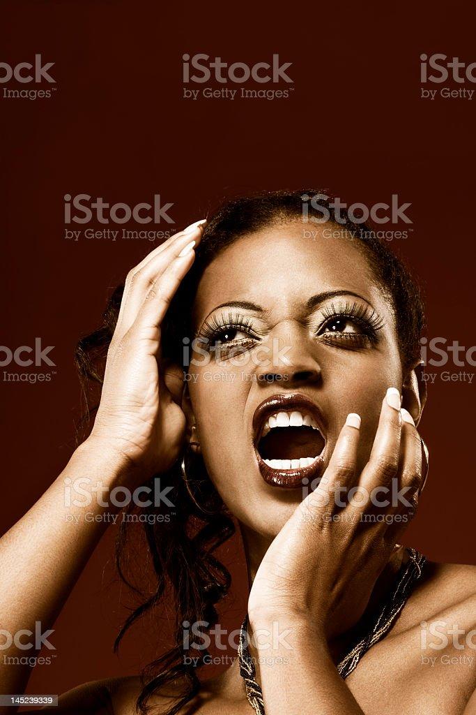 Scream (toned), screaming girl royalty-free stock photo