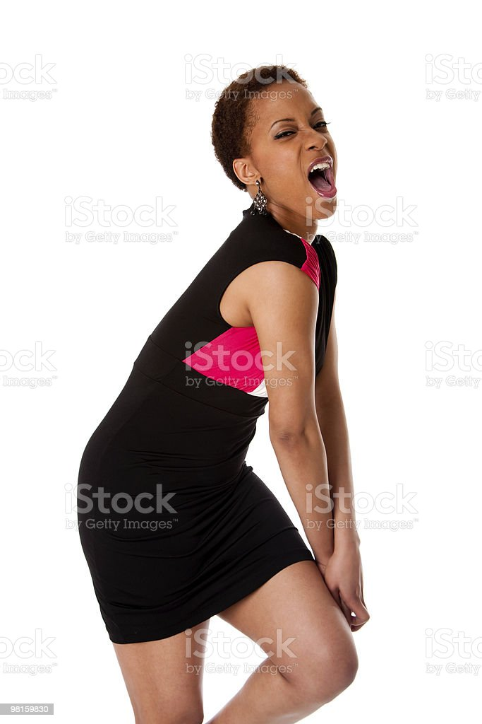 Screaming African business woman royalty-free stock photo