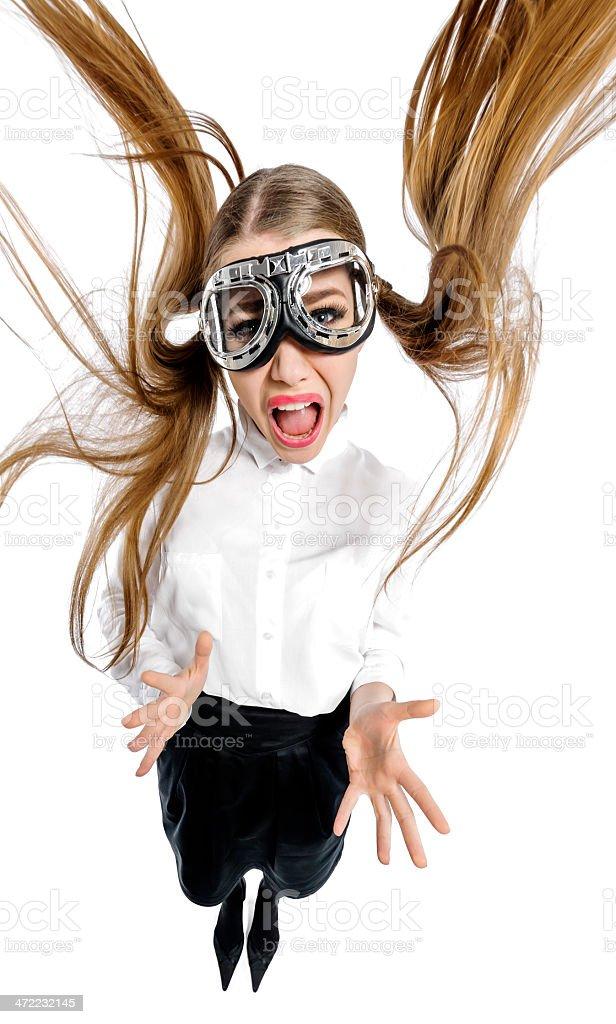 screaming airwoman stock photo