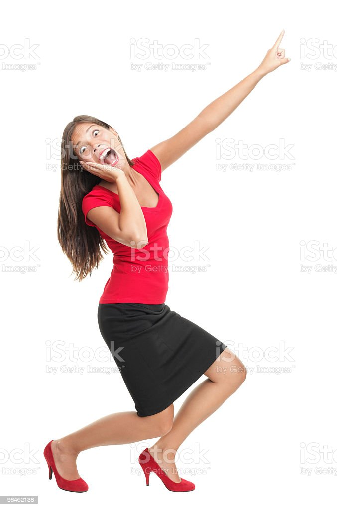 Screaming and pointing woman royalty-free stock photo