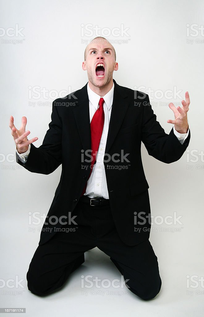 Screaming Angry Young Business Man stock photo