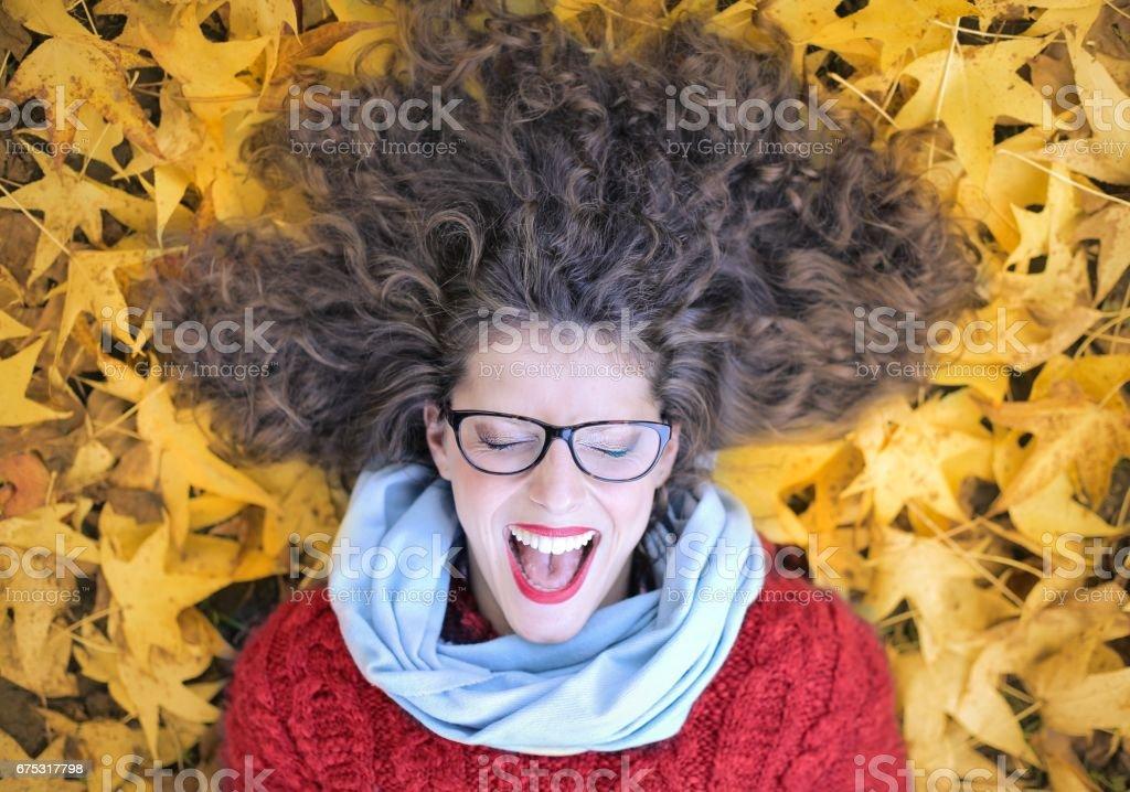 Screaming at autumn stock photo
