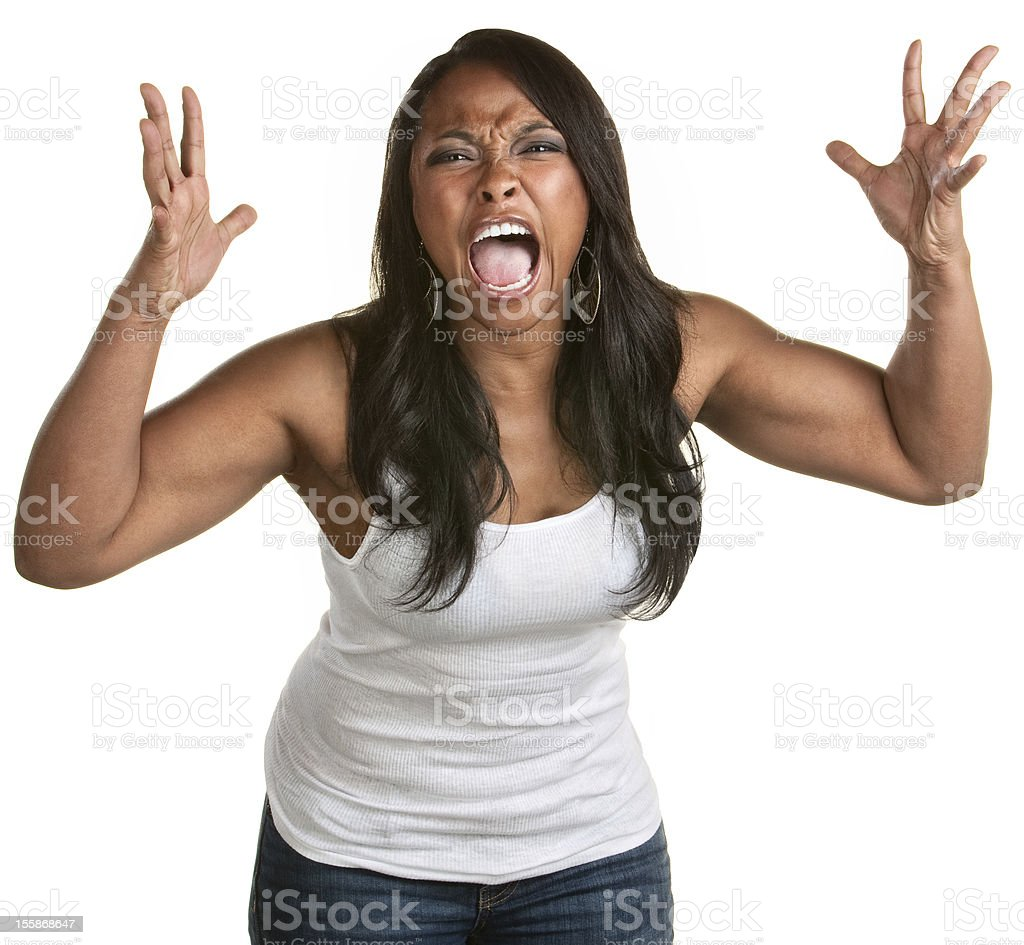 Screaming Black Woman stock photo