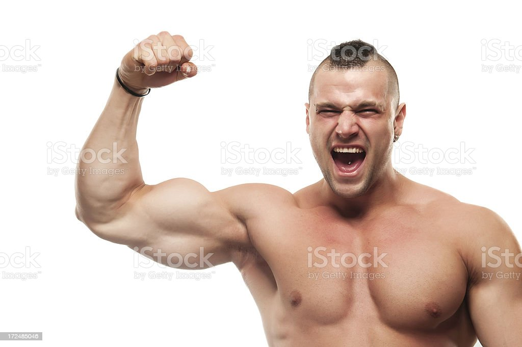 Screaming Body builder flexing biceps royalty-free stock photo
