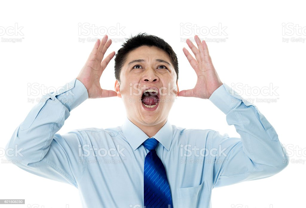 Screaming businessman isolated on white background photo libre de droits