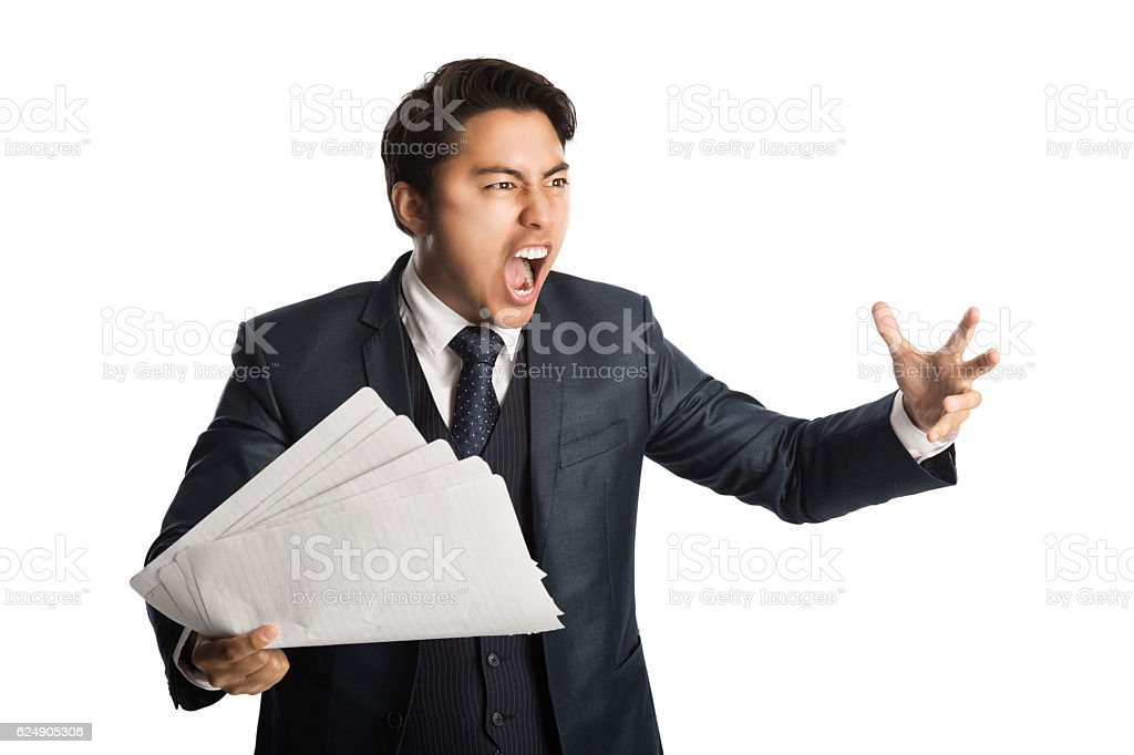 Screaming businessman with paper stock photo
