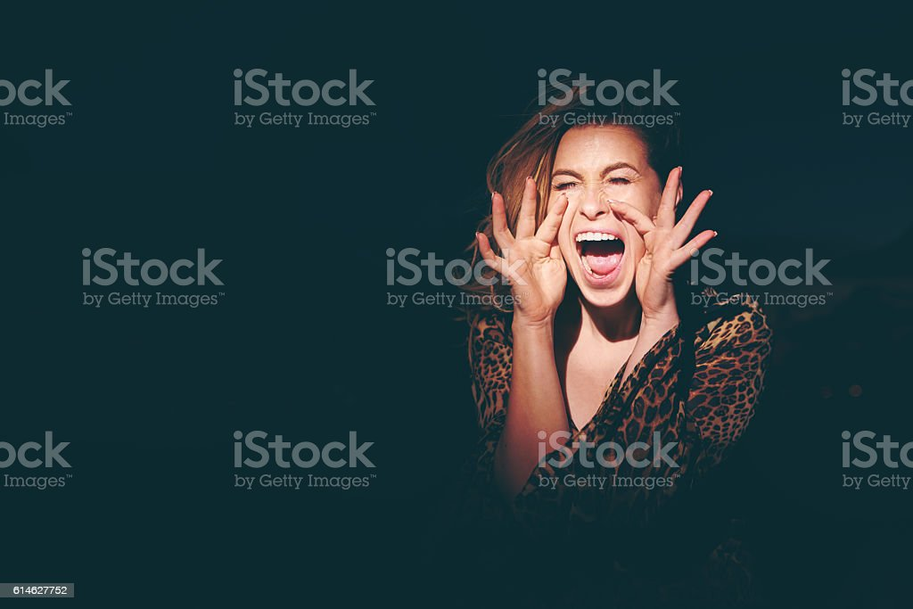 screaming for help stock photo