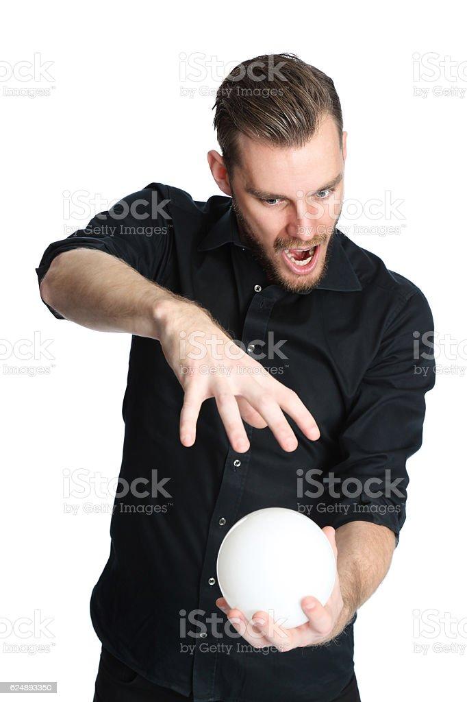 Screaming fortune teller stock photo