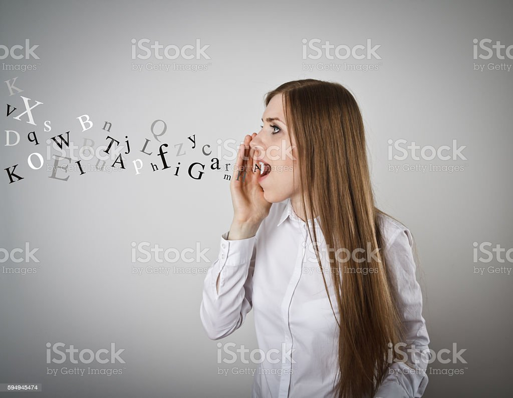 Screaming. Letters. stock photo