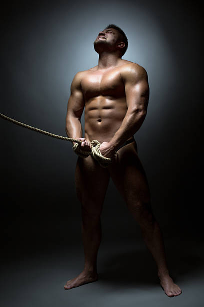 Rope Men Tied Up Body Building Stock Photos, Pictures