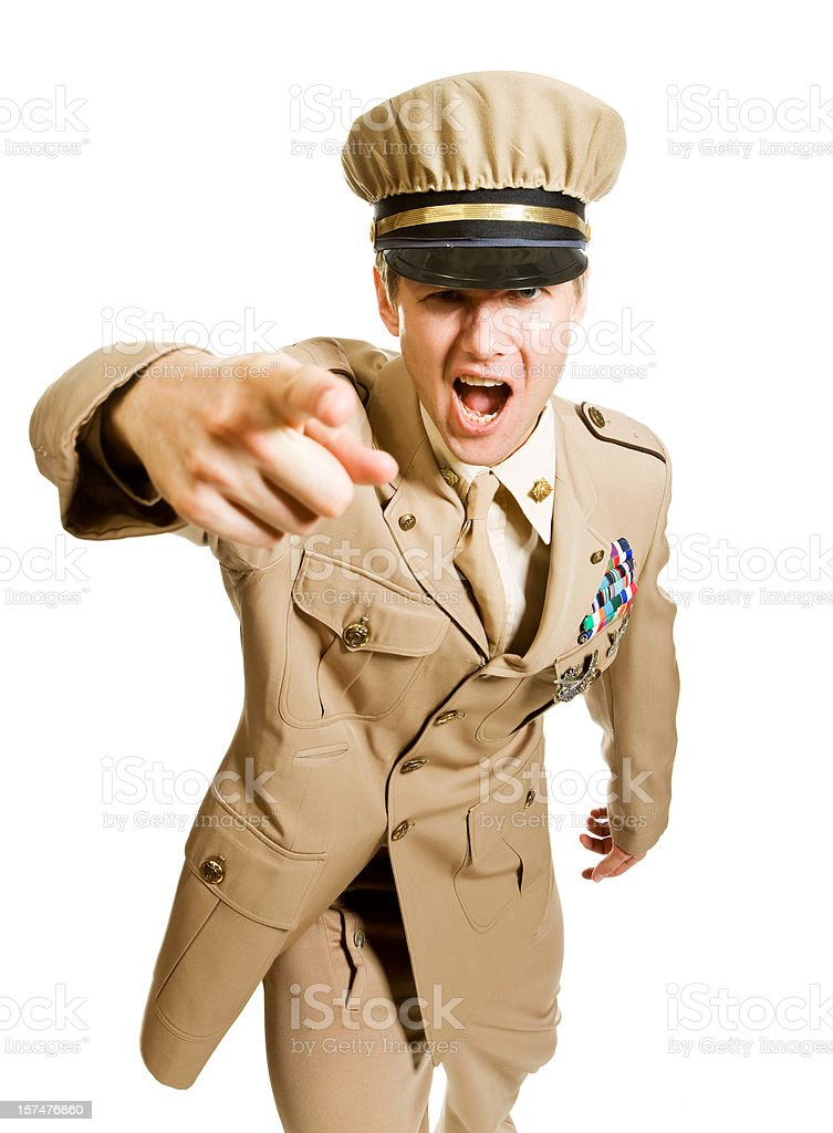 Screaming officer stock photo